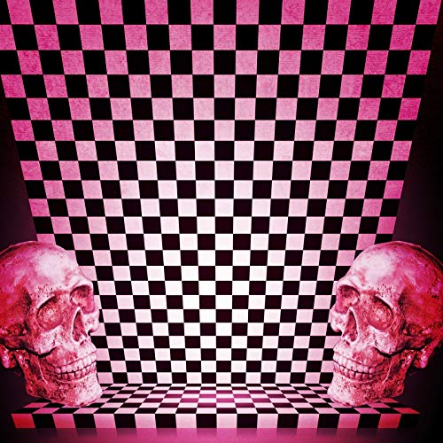 Laeacco Pink Halloween Backdrop 6x6ft Vinyl Photography Background Mosaic Creepy Skulls Black White Checkered Children Kids Adults Portraits Photo Vedio Studio Props -