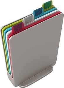 Joseph Joseph 60097 Index Cutting Board Set with Storage Case Plastic Color Coded Dishwasher-Safe, Mini, Silver (Discontinued Model)