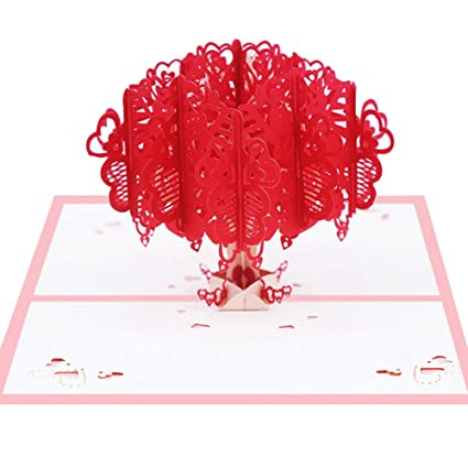 Amazon Polytree 3D Greeting Cards Romantic Love Heart Tree