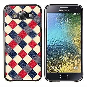 BearCase / Cubierta de protección Caso duro de la contraportada de Shell Plástico /// Samsung Galaxy E5 E500 /// Modelo retro rojo a cuadros Diner Vintage