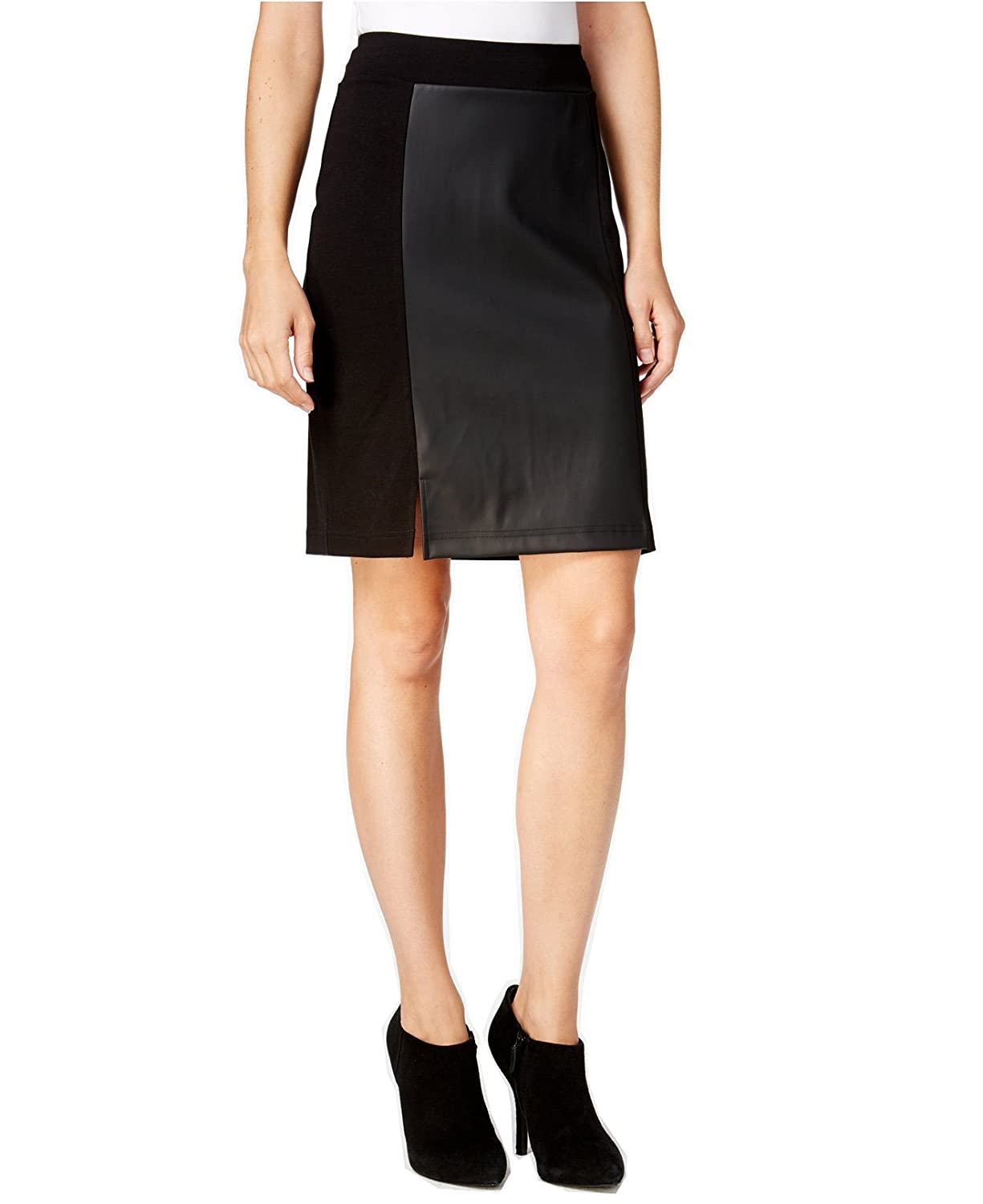 Kensie Women's Faux-Leather Ponte Skirt