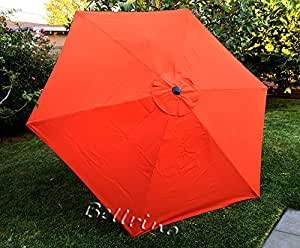 """BELLRINO DECOR Replacement 9ft 6 Ribs """" ORANGE """" STRONG & THICK """" Umbrella Canopy (Canopy Only) ORANGE 96"""