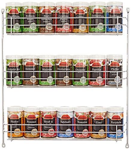 Ostmann Chrom-Gewürzregal gefüllt mit 21 Gewürzdosen, 1er Pack