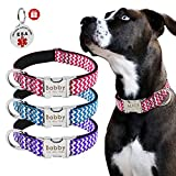 Beirui Custom Nylon Dog Collar-Personalized Engraved Stainless Steel Pet ID Tags with Name Plated-Quick Release Buckle dog collars for Medium Large dogs-ESA ID Tag as Gift,13.5-22.5'' Hot Pink