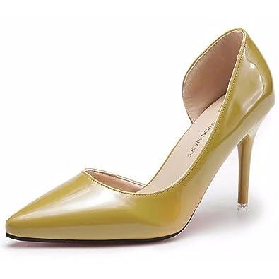 DIMAOL Womens Shoes PU Fall Comfort Heels Stiletto Heel Pointed Toe Split Joint for Casual Beige Black