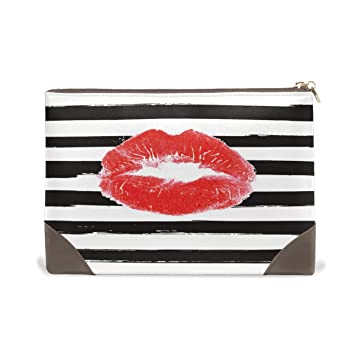 Amazon.com   MMstyle Fashion Sexy Red Lips Kiss Black Stripe Leather Large  Capacity Toiletry Cosmetic Bag for Women Girls   Beauty 27b7d87c22d8d
