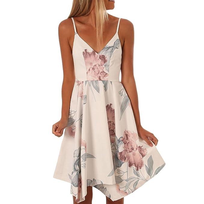 Vestidos mujeres Sling V collar elegante falda asimétrica imprimir ...