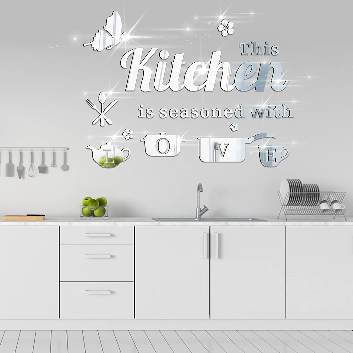 14Pcs Removable Acrylic Mirror Kitchen Wall Decal, KMOTASUO Ornamental Mural Stickers with Letters Kitchenware and Butterfly, Home Decor Decals for Living Room Dining Room Restaurant (Silver)