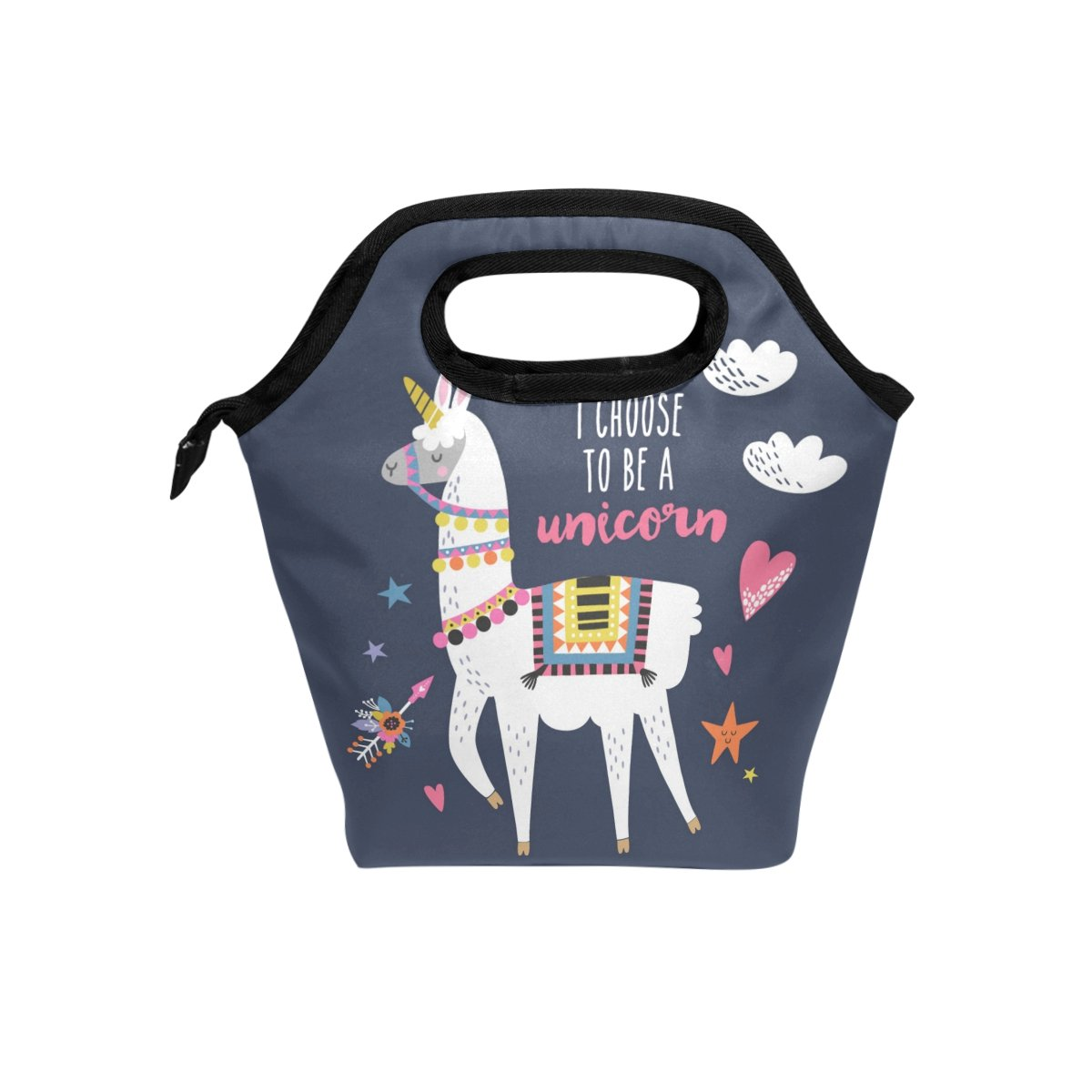 Bettken Lunch Bag Llama Alpaca Unicorn Quote Insulated Reusable Lunch Box Portable Lunch Tote Bag Meal Bag Ice Pack for Kids Boys Girls Adult Men Women