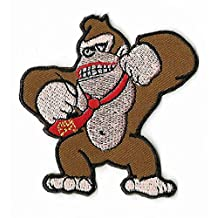 "Donkey Kong Patch 3"" Embroidered Iron on Badge Retro Gamer Gorilla Ape Monkey Costume Applique Motif Bag Shirt Snes Video Game DK Cartoon"