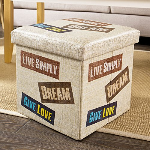 Contemporary Leather Letter - Haotian Storage Ottoman Footstool, Folding Seat Box with Seat Cushion, Letter Pattern, FSS35-K, 14.9 x 14.9 x 14.9inch