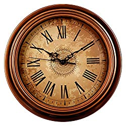 Kinger_Home 12-inch Silent Non-ticking Round Wall Clocks,Decorative Vintage Style Roman Numeral Clock,Home Kitchen/Living Room/ Bedroom (Brown)