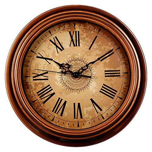 Zaoniy 12-inch Silent Non-Ticking Round Wall Clocks,Decorative Vintage Style Roman Numeral Clock,Home Kitchen/Living Room/Bedroom (Brown) ()