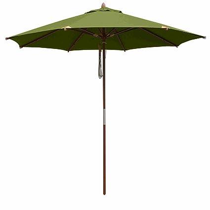 10 Foot Outdoor Round Deluxe Eucalyptus Wood Patio Garden Umbrella Covers  Sun Protection Convenient Durable Elegant