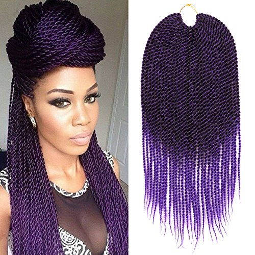 Dairess (6 Packs) 18Inch 30Strands 75Gram/Pack Senegalese Twist Hair Crochet Braids Hairstyles Crochet Twist Synthetic Braiding Hair Extensions (Ombre Purple,6 Packs) (Best Type Of Hair For Senegalese Twist)