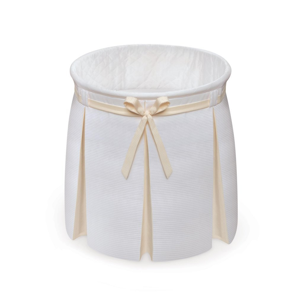 Badger Basket Company Empress Round Baby Bassinet, Ecru/Leaf Print 83903