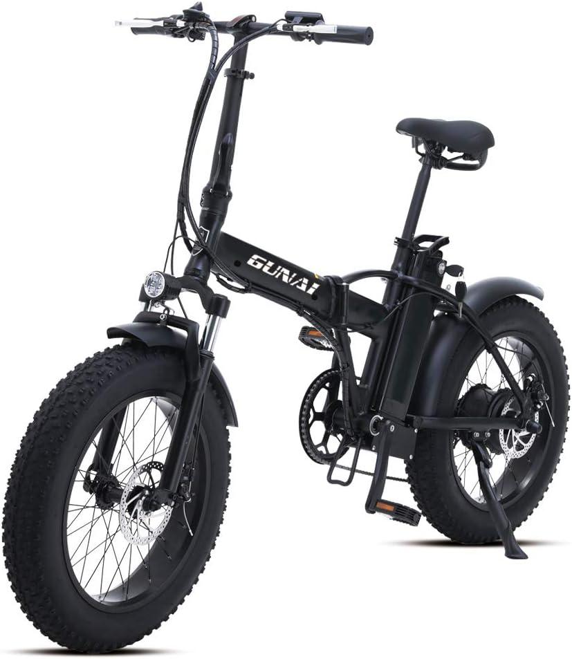 GUNAI Bicicleta Eléctrica 500W 20 Pulgadas 48V 15Ah Neumático Gordo Ciclismo de Playa Bicicleta de Montaña Suspensión Completa MTB Ebike 7 Velocidad Variable