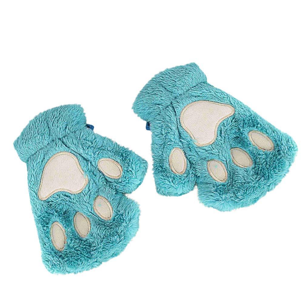 FeiBeauty Mä dchenherbst- und -wintert-shirt der netten Katze Tatzenplü sch halbe Fingerhandschuhe im Freien windundurchlä ssige Handschuhe.