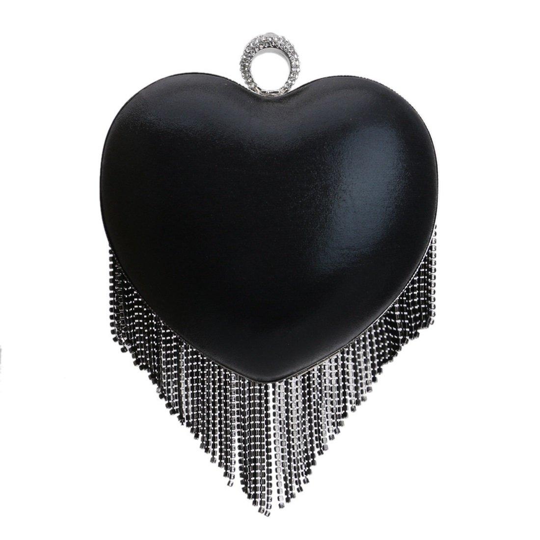 Haxibkena Frauen-Herz-Quaste Abend Clutch Clutch Clutch Purse Bag Luxus Party Handtasche (Farbe   schwarz) B07L9494DX Clutches Schnelle Lieferung 5f480d