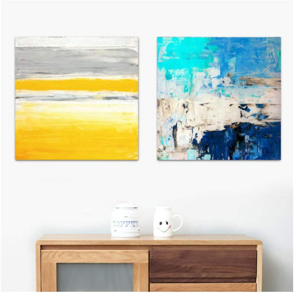 DNJKSA Abstract Canvas Painting Color Striped Picture Nordic Modern Home Decor Wall Art Poster Sofa Office Hotel Corridor Supply/60x60cmx2Pcs-No Frame
