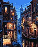 DIY Oil Painting Paint by Number Kit, Paint by Numbers Drawing With Brushes Paint, Suitable for All Skill Levels 40x50cm - Venice Evening