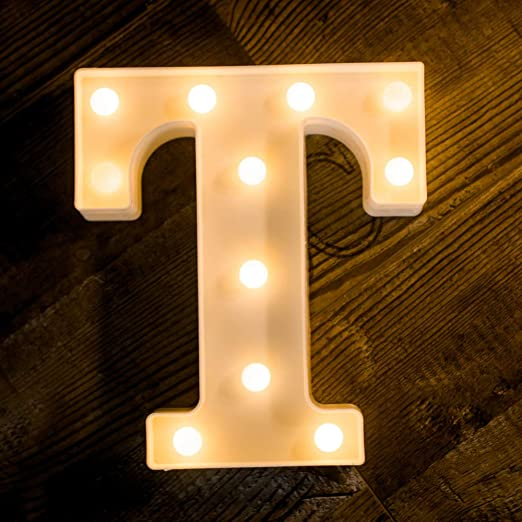 Wooden 26 Letters LED Night Light Letter Sign L//P Lamp Birthday Party Wall