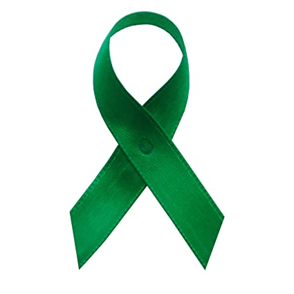 250 USA Made Emerald Green Satin Awareness Ribbons - Bag of 250 Fabric  Ribbons with Safety Pins (Many Colors Available)