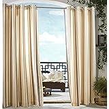 Cheap Commonwealth Outdoor Decor Grommet-Top Semi-Opaque Outdoor Curtain Panel – Khaki Stripe – 108″ x 50″')