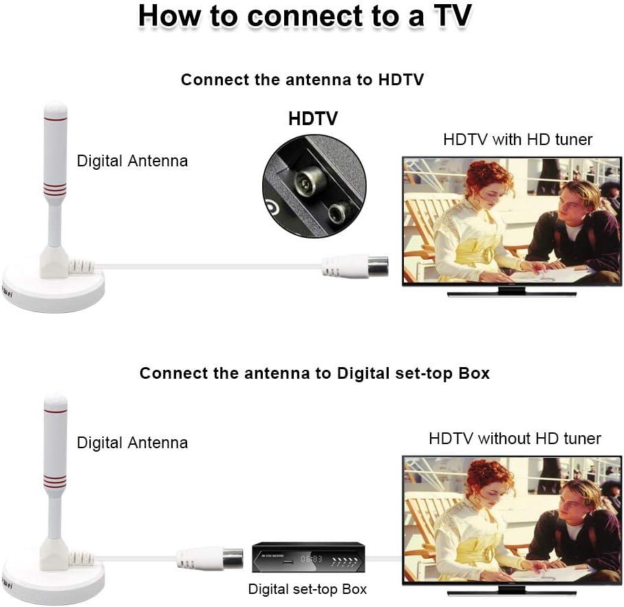 Antena de TV peque/ña para sintonizador de TV USB//DVB-T2 // 4K TV 1080p Blanco Cable coaxial de 6.5 pies Chaowei DVB66 Antena de TV Digital port/átil para Interiores y Exteriores con Base magn/ética