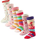 6 Pairs Toddler Girl Knee High Grips Socks, Baby Socks Girl School Socks Anti Slip for Kids