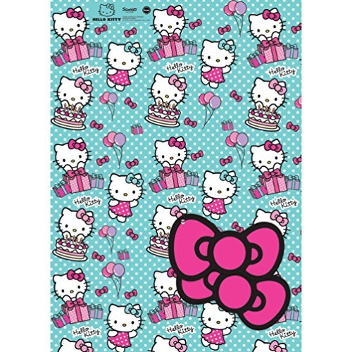 Hello Kitty 2 Sheets Of Gift Wrap And 2 Gift Tags