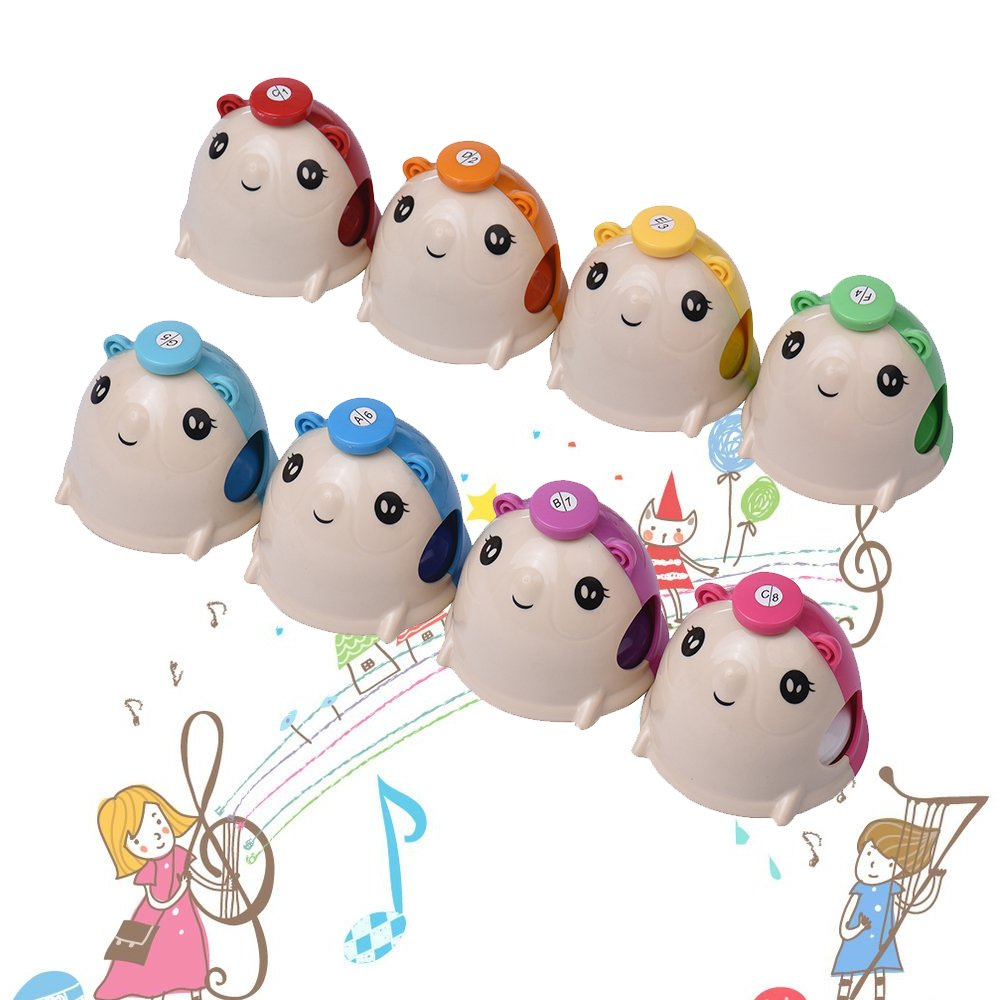 Muslady 8pcs/Set Colorful Cute Cartoon Deskbell Mouse-shape Hand Bells Handbell Hand Percussion Bells Kit Musical Toy for Kids Children for Musical Learning Teaching