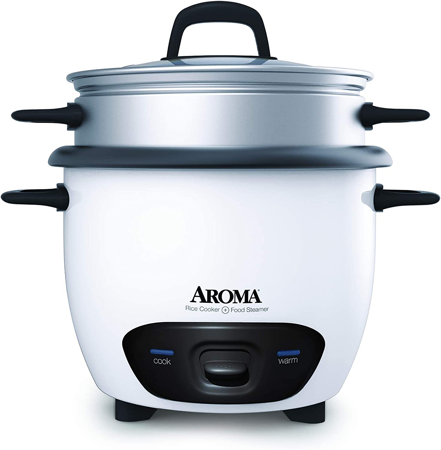Aroma Housewares 6-Cup (Cooked) (3-Cup Uncooked) Pot Style Rice Cooker and Food Steamer (ARC-743-1NG), White