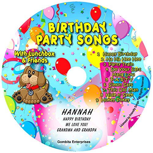"""Children Name Personalized Music CD -- FRIENDLY SONGS Birthday Party Songs -- Music CD and """"NEW"""" Digital Content Is HERE! - - ''CUSTOMIZE WHEN ORDERING'' (Standard Name CD) by Gombita Enterprises"""