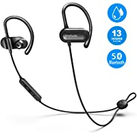 OneAudio Bluetooth Headphones in Ear, Sports Earphones V5.0/13 Hours Playtime/Microphone CVC Noise Reduction / IPX4 Waterproof, Wireless Headset for Running Jogging Workout (Black) (Black)