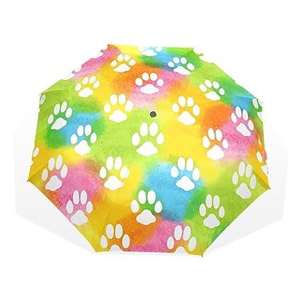 GUKENQ - Paraguas de Viaje para Gatos, diseño de Huellas de Acuarela, Ligero,
