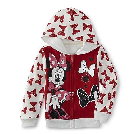 Disney Minnie Mouse – Sudadera niña con capucha Rojo Blanco Rosa rojo rojo Talla:80
