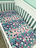 Crib Sheet - Watercolor Rainbow Mermaid Scales