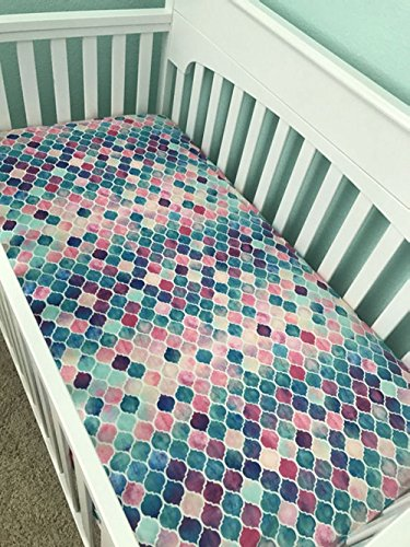 Crib Sheet - Watercolor Rainbow Mermaid Scales by Lullabies and Lollipops