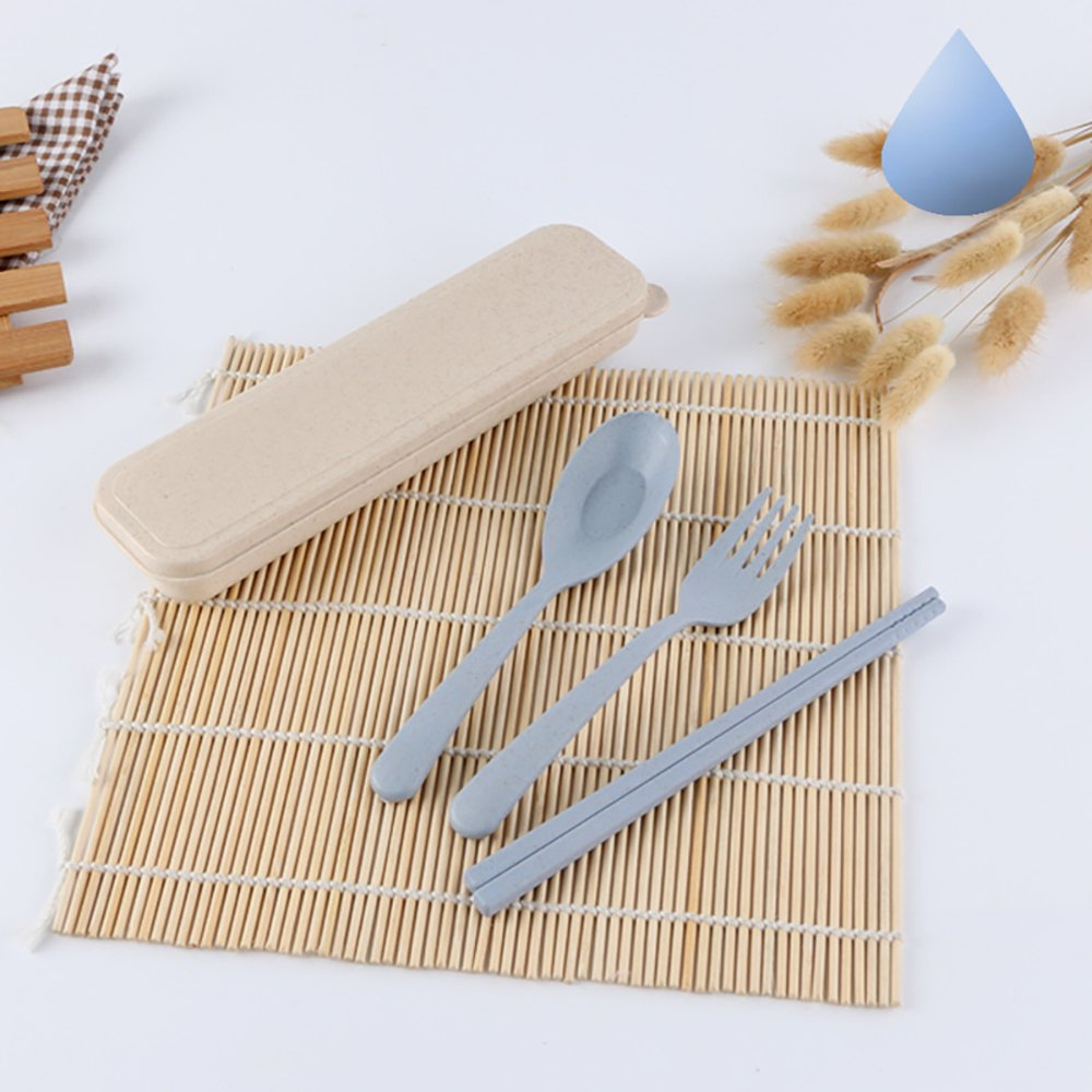 Ouken Portable viaggio stoviglie forchetta cucchiaio bastoncini paglia posate set (blu) (Blu)