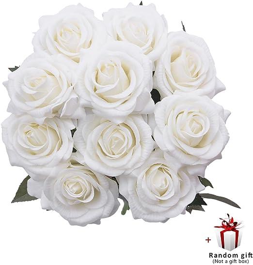 Bouquet Da Sposa Bianco.Judy Rose Finte 10 Pcs Fiori Finti Composizioni Floreali Bouquet