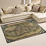 Naanle Vintage World Map Area Rug 3'x5′, Antique Map of the World Polyester Area Rug Mat for Living Dining Dorm Room Bedroom Home Decorative Review