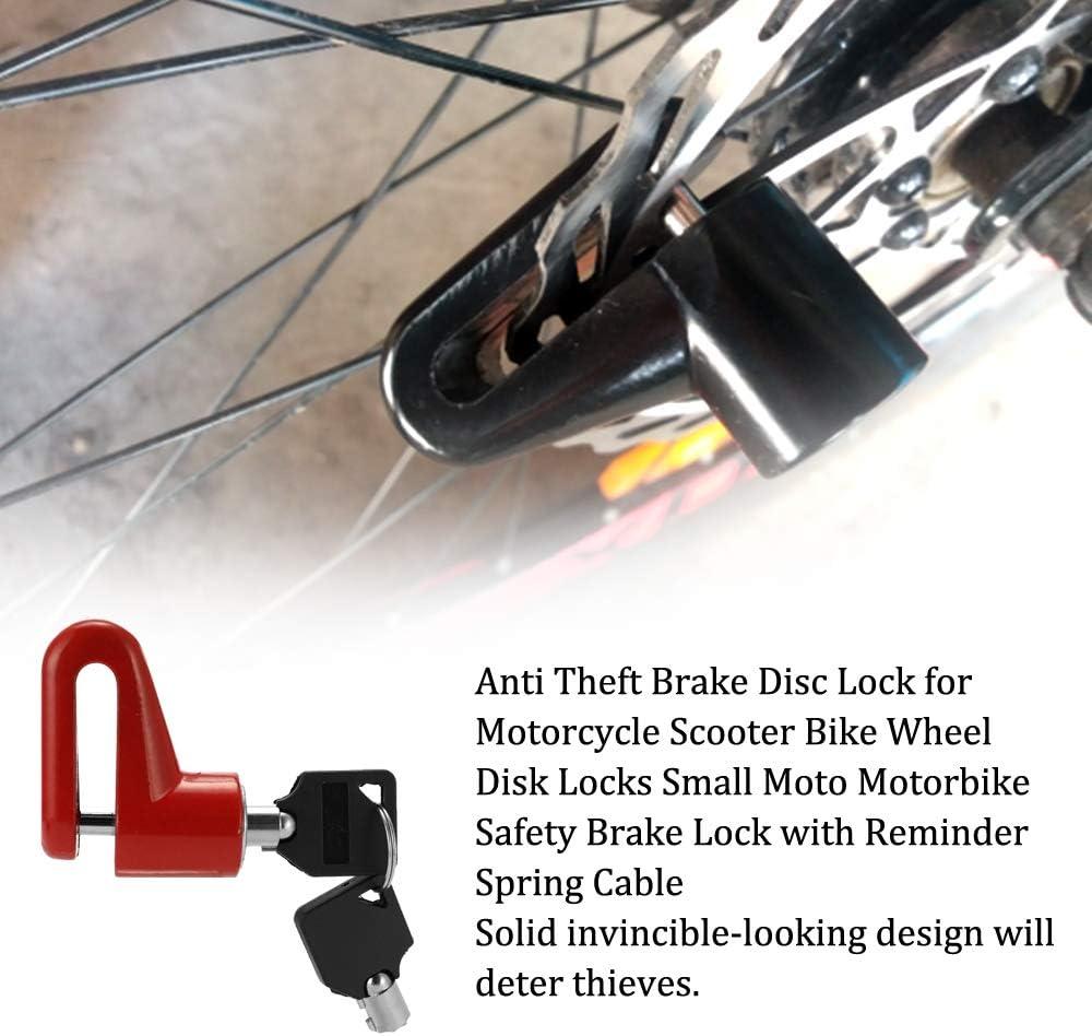 Leslaur Bloccadisco antifurto per Freni a Disco per Moto Bloccaggi per Dischi Ruota per Bici Bloccadisco Freno di Sicurezza per Moto Piccola con Cavo a Molla di promemoria