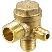ZLYY 90-Degree Right Check Valve, 3-Port Brass Male Threaded Air Compressor Check Valve Central Pneumatic
