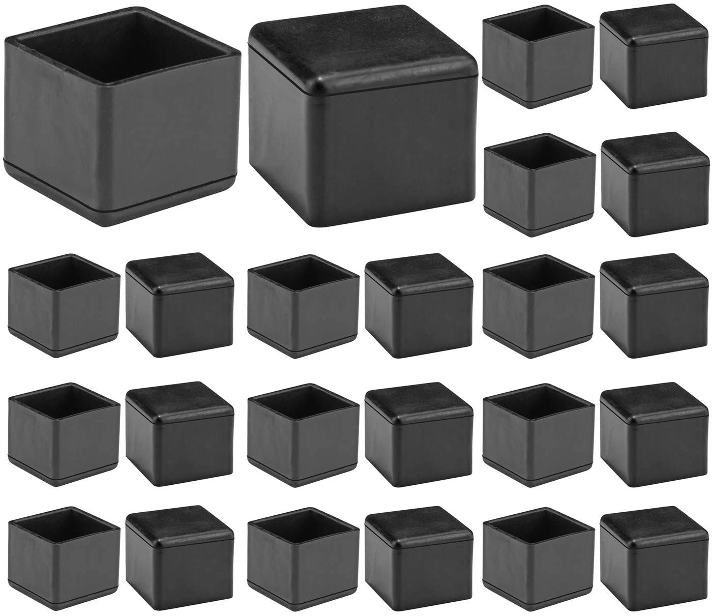 """Ksmiley Chair Leg Floor Protectors, Rubber Square Feet Furniture Pads Table Chair Leg Foot Cover Caps, Non-Slip Floor Protection, Prevent Scratches, 1"""" x 1""""(25mm), 24pcs Black"""