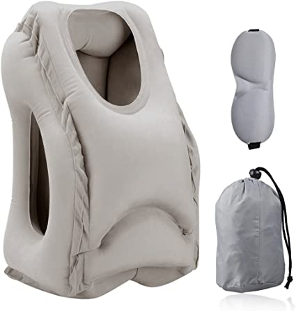 Trains Simptech Inflatable Travel Pillow Office Napping Buses Ergonomic and Portable Head Neck Rest Pillow,Patented Design for Airplanes Camping Cars