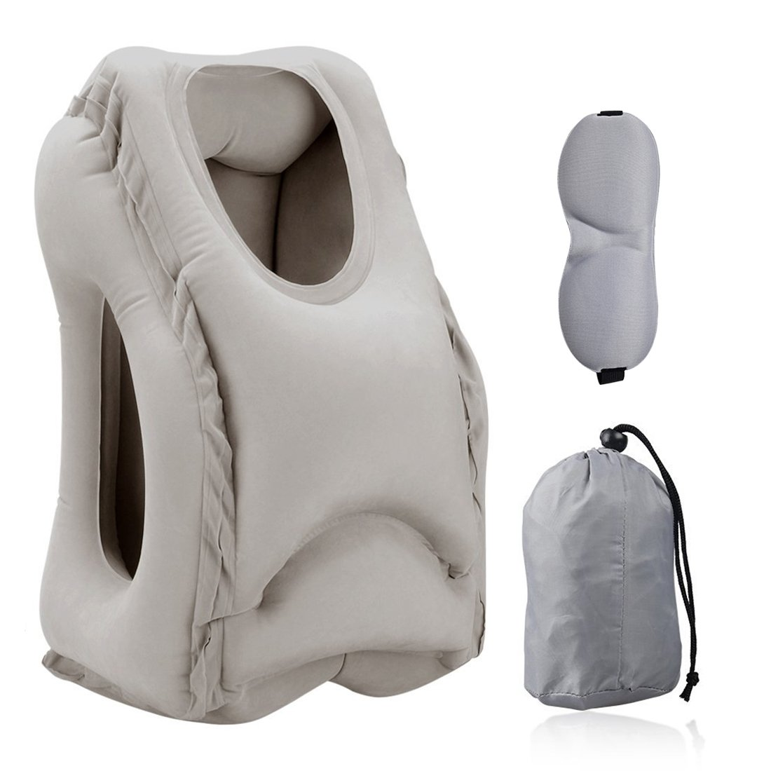 Travel Pillow, Portable Head Neck Rest Inflatable Pillow from HOMCA, Design for Airplanes, Cars, Buses, Trains, Office Napping, Camping - Includes FREE Eye Mask (Black) COMIN18JU083489