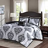 Comfort Spaces Coco 3 Piece Comforter Set Ultra Soft Printed Damask Pattern Hypoallergenic Bedding, Twin/Twin XL, Black