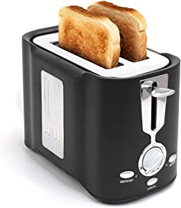 DricRoda Toaster 2 Slice, Stainless Steel Bread Toaster Waffles Toaster with 7 Shade Setting, Defrost, Reheat, Cancel Function, Removable Crumb Tray, 800W, Black