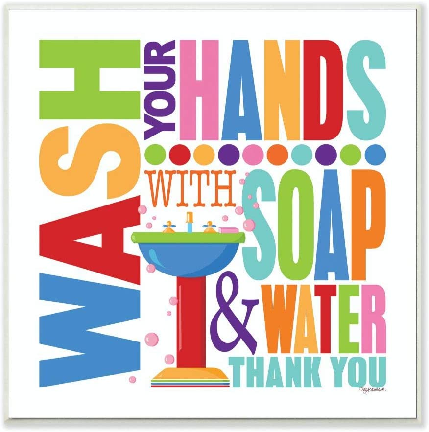 The Stupell Home Décor Collection Wash With Soap And Water Colorful Bathroom Wall Plaque, 12 x 0.5 x 12, Proudly Made in USA
